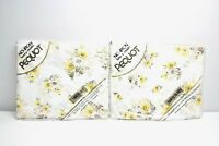 NIP Vintage Yellow Floral Sheets Pequot No Iron Muslin Twin Fitted & Flat