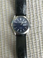 Seiko Solar Mens Day/Date Blue Dial Black Leather Strap Watch SNE049
