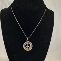 Vintage Lia Sophia Silver Tone Sparkling Crystal Peace Sign Pendant Necklace