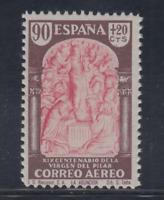 ESPAÑA (1940) MNH NUEVO SIN FIJASELLOS -EDIFIL 908 (90 cts+20 cts) PILAR LOTE 4
