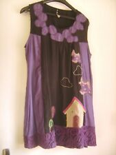 """Belle tunique style baba-cool """"MAELLA"""" noire et violette brodée taille L"""