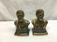 ABRAHAM LINCOLN, PAIR OF CAST BRONZE/BRASS BOOKENDS,  PHIL. MANUFACTURE