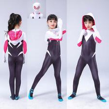 2019 Spider-Man: Into the Spider-Verse Gwen Kids Cosplay Costume Zentai Suit