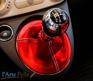 Soufflet Levier Boîte de Vitesses Fiat 500 Vraie Cuir Rouge