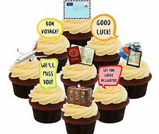 Bon Voyage Edible Cupcake Toppers, 36 Fairy Cake Bun Decorations Leaving Party