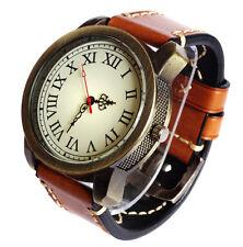Limited Edition Custom Made BRONZE Vintage Steampunk Quartz Watch Brass Leather