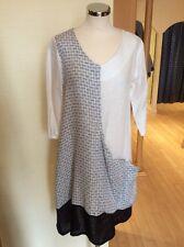 Eden Rock Tunic Dress Size M BNWT Cream Black Linen 3/4 Sleeve RRP £138 NOW £55