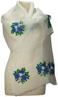 Schal Leinen, Weiß, edel bestickt Blumen Sommer scarf linen embroidered summer
