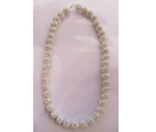 """Crystal Pave White Ball Necklace 16"""" Long 10.30 mm"""
