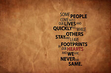 """A4 Poster – Inspirational Quote """"Footprints in our Heart"""" (Picture Print Art)"""