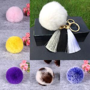 8cm Fur Pom Pom Keyring Keychain Real Fluffy Charms Puff Ball F Handbag Clothes