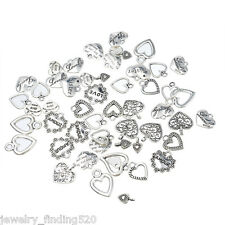 30PCs Dull Silver Tone Mixed Heart Pendants Fashion Charm Jewelry