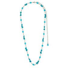 Rustic Faux Turquoise Stone Chain Necklace - FAST SHIP FROM USA