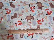 2 Yards Green Woodland Animal/Bear/Fox/Deer Flannel Fabric