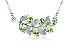 Fashion Womens Leaves Green Crystal Rhinestone Silver Chain Pendant Necklace ---