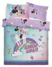 Disney Minnie Mouse 'Unicorn' Panel Double Bed Duvet Quilt Cover Set Brand New