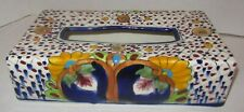 Vintage Tissue Box Kleenex Holder Cover Mexican Hand Painted Ceramic Pottery