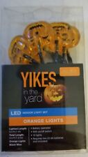 YIKES Orange Pumpkin LED INDOOR LIGHTS BATTERY OPERATED 10 LIGHTS New 2016