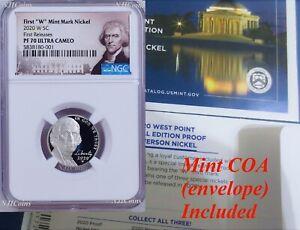 "2020 W First ""W"" Mint Mark Nickel NGC PF70 Ultra Cameo Portrait Label FR w/coa"
