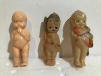 Vintage Lot Of 3 Celluloid And Plastic Kewpie Style Dolls, 1 Is Banner