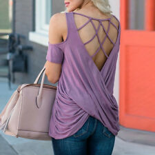 Off Shoulder Backless Hollow Out Solid Blouses - Purple