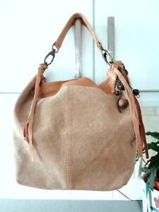 Topshop Tan Suede Leather Hobo Bucket Style Shoulder Bag