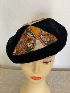 Magnin Dachettes Black Velvet White Faux Fur Knit Beret Cap Hat Tam Vintage 1950/'s I