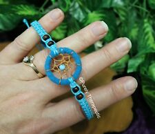 DREAM CATCHER BRACELET BLUE Anklet Waxed Cord Suede Wooden Beads Boho Hippy