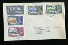 British Honduras KGV 1935 Silver Jubilee set SG143/6 used on airmail FDC