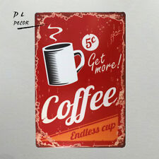 DL-Get More Coffee Vintage Retro Tin Sign Funny Humour New Open metal poster