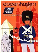 Copenhagen Denmark Scandinavia Irish Air Vintage Travel Advertisement Poster
