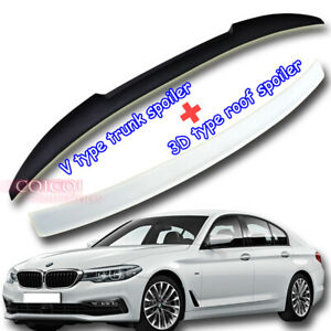 Painted BMW 17~ G30 5-series Sedan 3D type roof+ V type trunk spoiler All Color◎