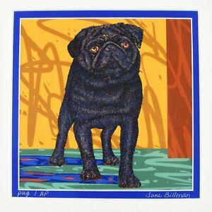 Pug Dog Digital Oil Painting on Canvas Jane & Gregg Billman artist proof c2003