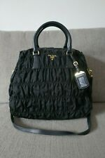Sale! GUC Authentic Prada Tessuto Gaufre Calf Nylon 2Way Bag Nero Black