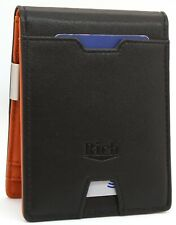 Mens Wallets RFID Secured  Thin Card Holder with Zip Pocket and Money Clip
