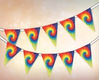 Summer Collection - Tie Dye Hippie Festival - Bunting 15 flags by PARTY DECOR