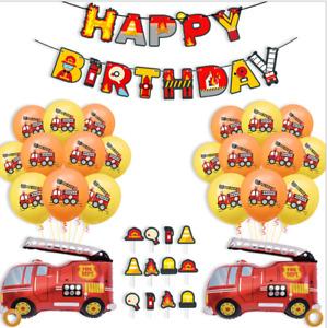 Fireman Vehicle Excavator truck happy birthday fire engine balloons banner party