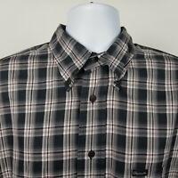 Faconnable Mens Black Red Check Plaid Dress Button Shirt Size Large L