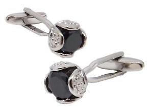 Black Flower Swarovski Crystal Cuff links Mens Wedding Gift by CUFFLINKS DIRECT