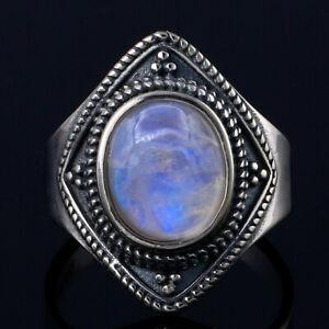 925 Silver Oval Natural Rainbow Moonstone&Lapis Lazuli Wedding Fashion Ring!!