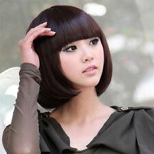 neu dunkelbraun bob perücke kurz glatt haar damen gerade full wig cosplay partei