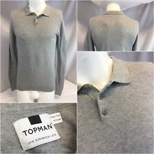Topman Long Sleeve Polo Shirt M Gray 100% Cotton Made Turkey Mint YGI K8-458