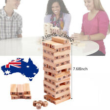 54pcs Giant Jenga Game Wooden Tumbling Tower Game Family Fun Garden Games Toy AU