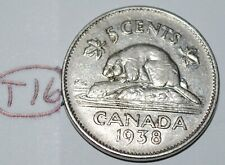 Canada 1938 5 Cents George VI Canadian Nickel Lot #T16
