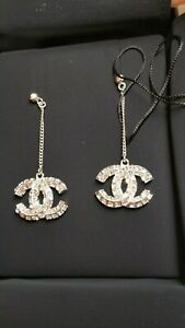 Authentic Chanel Silver Crystal Chain CC Logo Large Dangle Drop Earrings