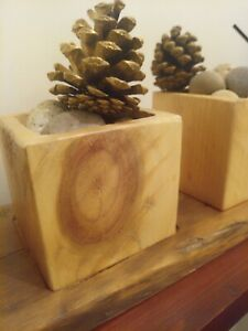 Set Of 3 Decorative Wooden Blocks With Tray