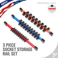 "3pc Socket Organizer | 1/4 3/8 1/2"" Mountable Sliding Holder Rail Tool Storage"