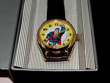 New 1977 Dabs Superman DC Comics Windup Watch All New Swiss Watch & Brown Band