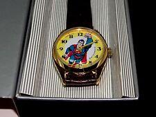 New 1977 Dabs Superman DC Comics Windup Watch All New Swiss Watch & Brown Band