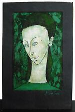 Sylvère Croix, portrait en vert de jeune femme Modern abstract style c1980